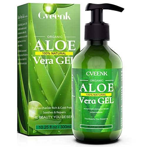 Aloe Vera Gel 300ml CVEENK Bio Aloe Vera Creme für Trockene Strapazierte Haut & Sonnenbrand, After...