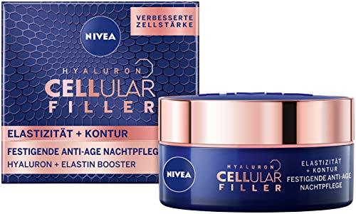 Nivea Hyaluron Cellular + Elastizität und Kontur Nachtpflege, Anti Falten Nachtcreme mildert...