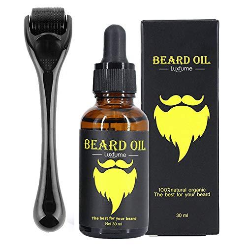 Bart-Wachstumsset, Bart-Dermaroller, 0,5 mm Derma-Roller/Bart-Öl für das Gesichtshaarwachstum,...