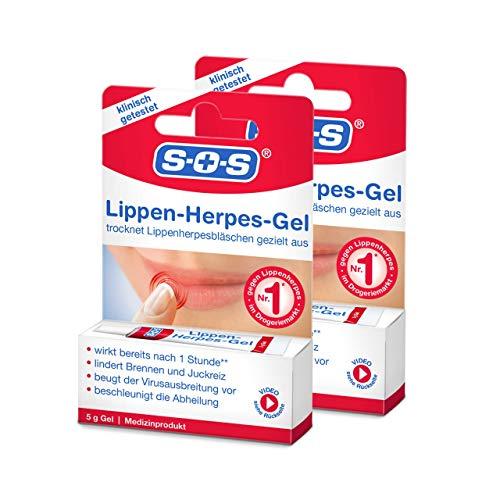 SOS Lippen-Herpes-Gel, 2 x 5g Tube, Linderung von Schmerzen und Juckreiz bei Lippenherpes,...