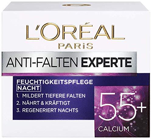 L'Oréal Paris Anti-Falten Experte Nachtcreme 55+, Anti-Age Feuchtigkeitspflege mit Calcium, mildert...