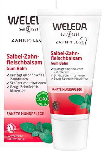 WELEDA Zahnfleischbalsam, Naturkosmetik Pflegegel für empfindliches Zahnfleisch, Zahnpasta zur...