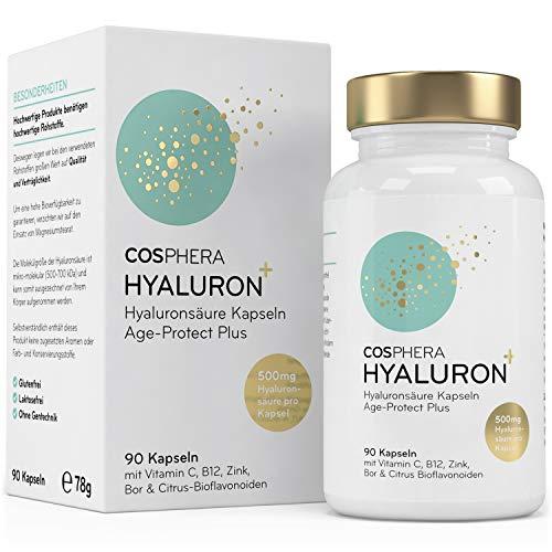 Hyaluronsäure Kapseln - Hochdosiert mit 500 mg pro Kapsel. 90 vegane Kapseln im 3 Monatsvorrat -...