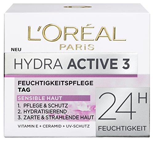 L'Oreal Paris Hydra Active 3 Tagespflege, mit Vitamin E und UV-Schutz fr sensible Haut, spendet...