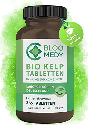 Bio Kelp Jod – 365 vegane Tabletten – 150µg natürliches Jod – Bio Braunalgen aus Frankreich...