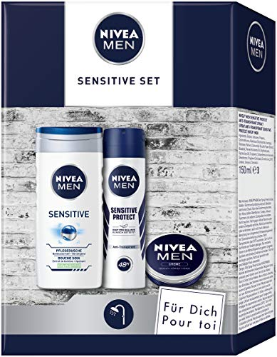 NIVEA MEN Sensitive Pflegeset, Geschenk für Männer mit Pflegedusche, Anti-Transpirant und...