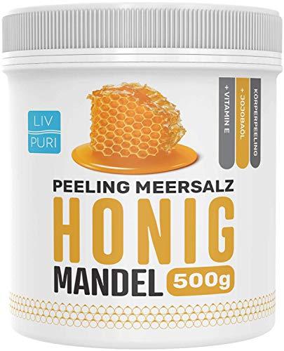 LivPuri Peeling Meersalz Salz Honig Mandel mit Jojobaöl, 500g für Damen & Herren optimal anwendbar...