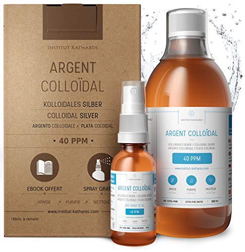 Kolloidales Silber 100% Natürlich 500 ml ● 40 PPM ● Mit auffüllbarem 30ml-Spray ● Ebook...
