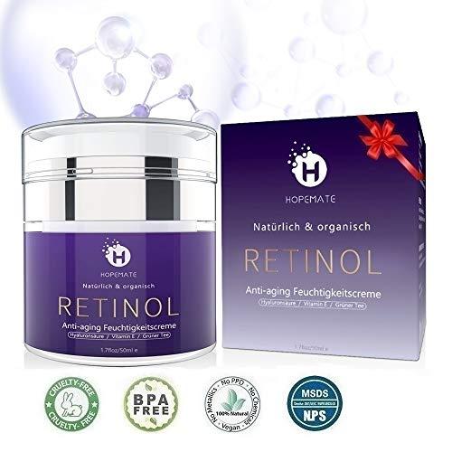 Retinol Feuchtigkeitscreme Creme, Anti-Aging & Anti Falten Creme von HOPEMATE fr Gesicht & Augen, fr...