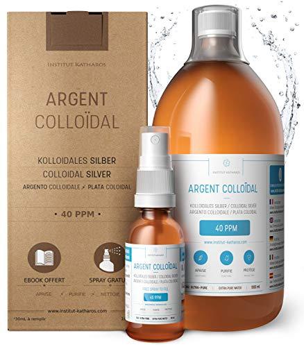 Kolloidales Silber 100% Natürlich 1L ● 40 PPM ● Mit auffüllbarem 30ml-Spray ● Ebook...