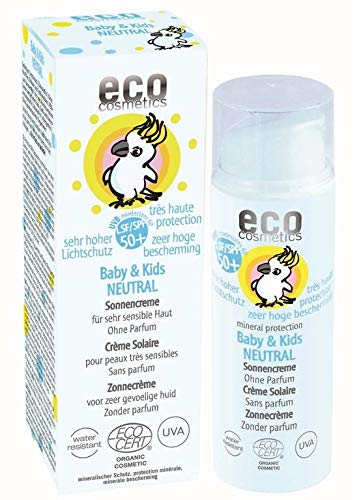 eco cosmetics Baby Sonnencreme LSF50+ neutral, wasserfest, vegan, ohne Mikroplastik, Naturkosmetik...