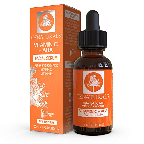 Oz naturals Vitamin C Serum + AHA For Skin - Anti Aging Anti Wrinkle Serum Combines Potent Vitamin C...