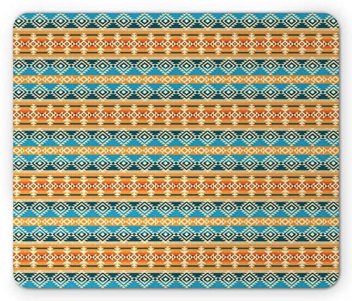 Tribal Mouse Pad, Ethnisches geometrisches Muster Primitive Kultur Inspirationen Verzierte...