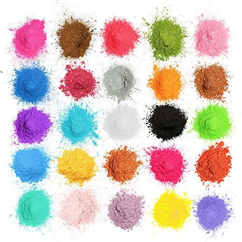 MOSUO Epoxidharz Farbe Mica Pulver, 25 Farben Seifenfarbe Set Pigmente Pulver(5g), Metallic Farben...